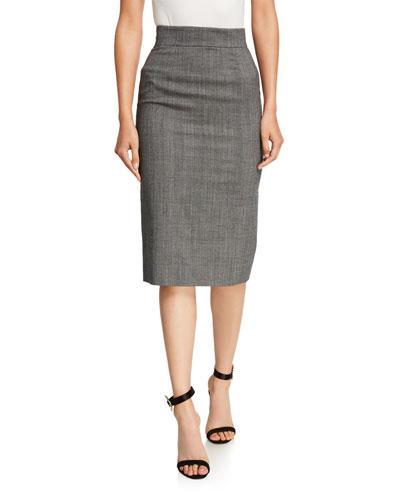 Tartan Check Pencil Skirt