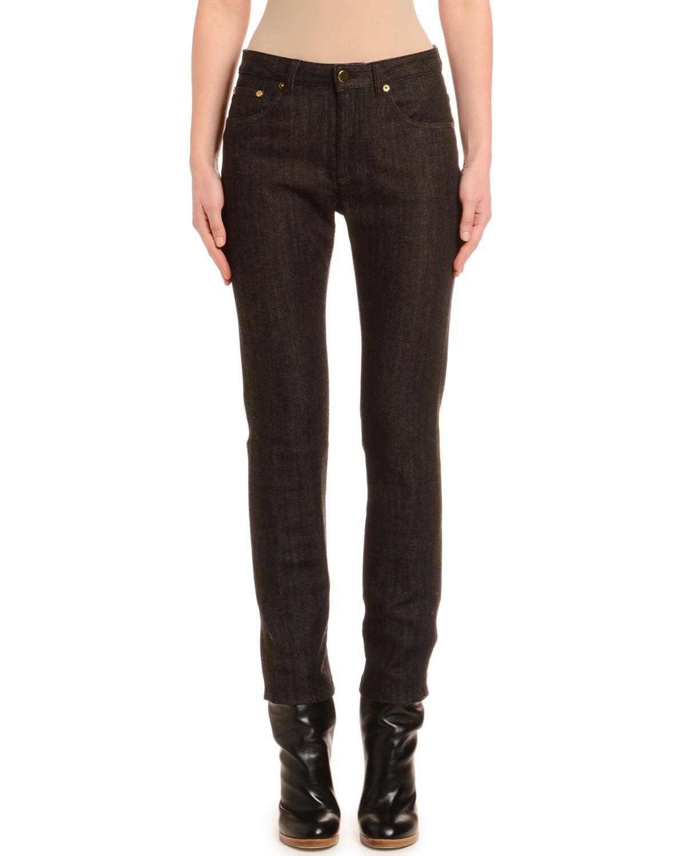 Agnona Jeans TAPERED CASHMERE-LINE SKINNY JEANS