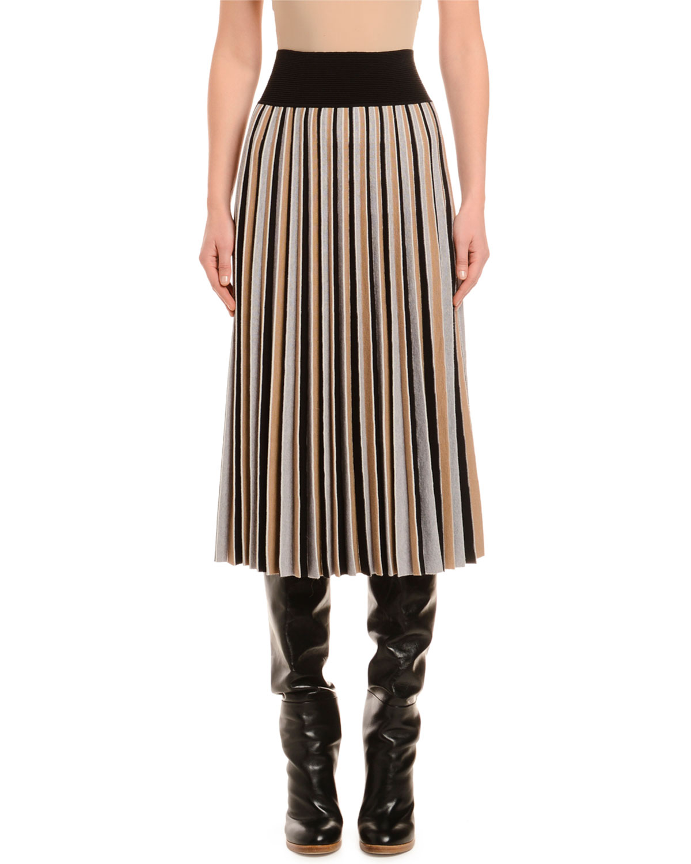 Agnona Skirts PLEATED COLORBLOCKED WOOL SKIRT