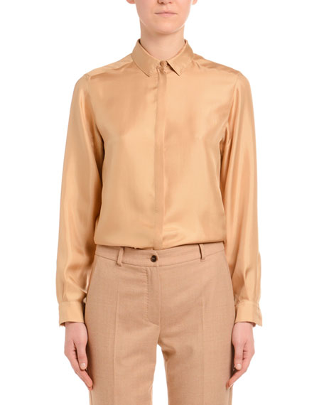Agnona Long-Sleeve Button-Front Silk Twill Blouse, Camel