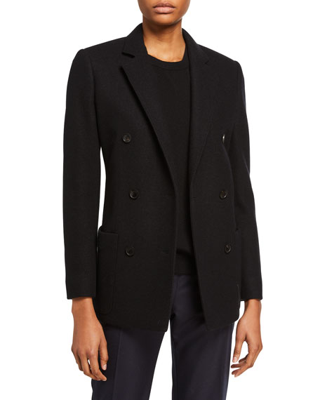 Agnona Cashmere Jersey Double-Breasted Jacket