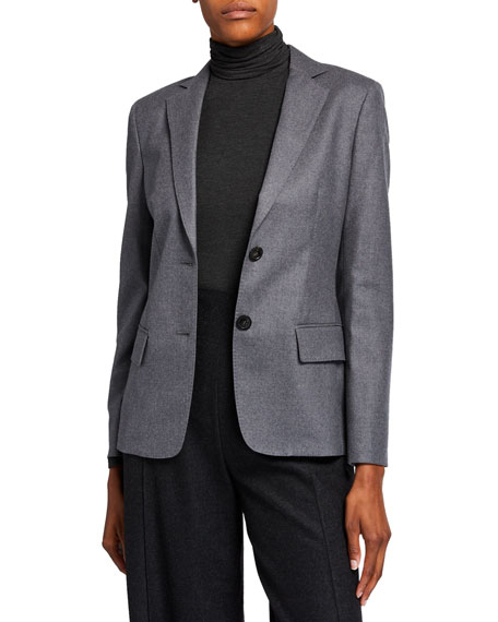 Agnona Wool Flannel 2-Button Jacket