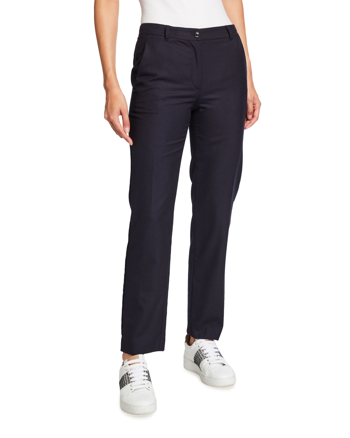 Wool Flannel Tapered-Leg Pants
