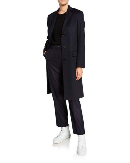 Agnona Cashmere Single-Breasted Slim Coat, Navy