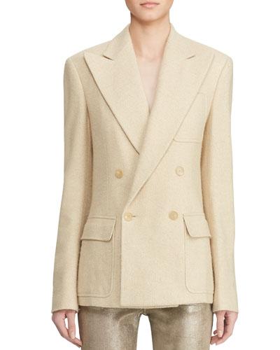 Caley Double-Breasted  Herringbone Jacket