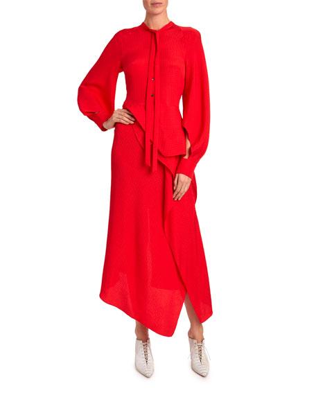 Roland Mouret Bocana Tie-Neck Long-Sleeve Dress