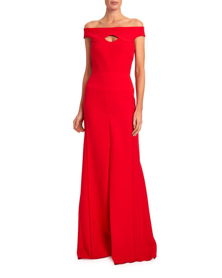 Roland Mouret Elly Off-the-Shoulder Keyhole-Neck Gown
