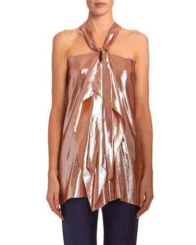 Pontal Draped Metallic-Silk Jacquard Halter Top