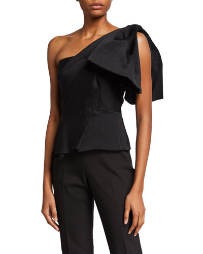 One-Shoulder Fitted Peplum Top