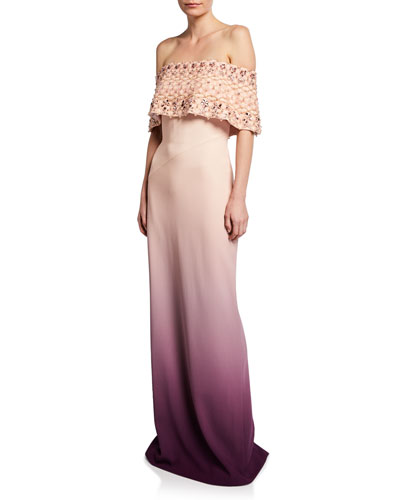 Off-the-Shoulder Pearl-Embellished Ombre Gown