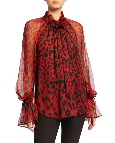 Silk Leopard-Print Oversized Blouse