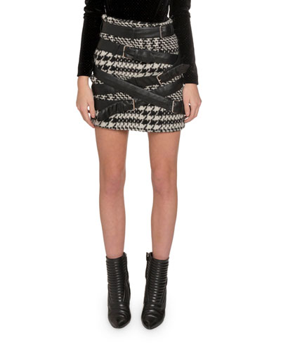Faux-Leather Strapped Houndstooth Mini Skirt
