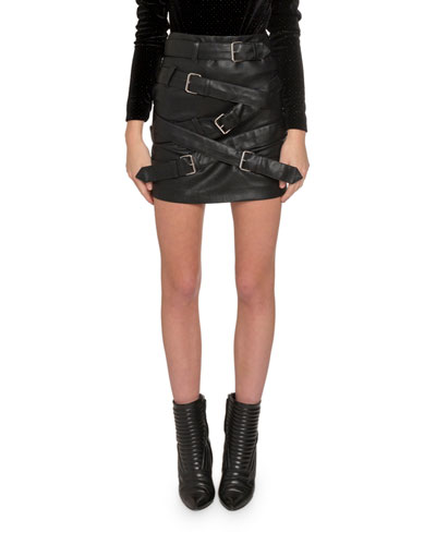Buckle-Front Faux Leather Mini Skirt