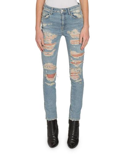 Light-Washed Slashed-Front Skinny Jeans