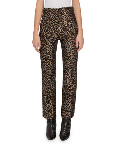 Leopard-Print High-Rise Pants