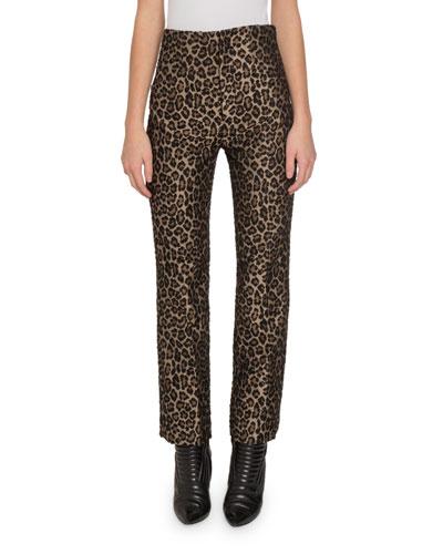 Leopard-Print High-Rise Pants