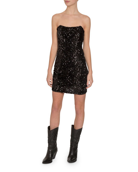 Redemption Paillettes Strapless Mini Dress