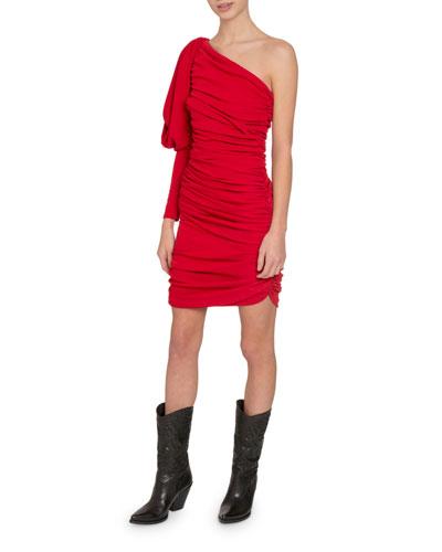 One-Shoulder Puff-Sleeve Gathered Crepe Mini Dress
