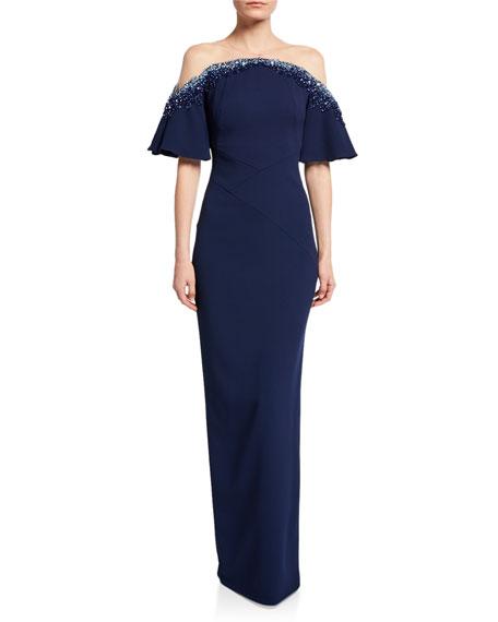 Pamella Roland Off-the-Shoulder Crystal-Embellished Gown