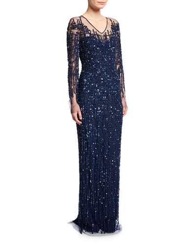 Sequined Crosshatch-Embroidered Gown