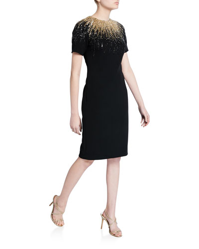 Sequined Stretch Crepe Cocktail Dress