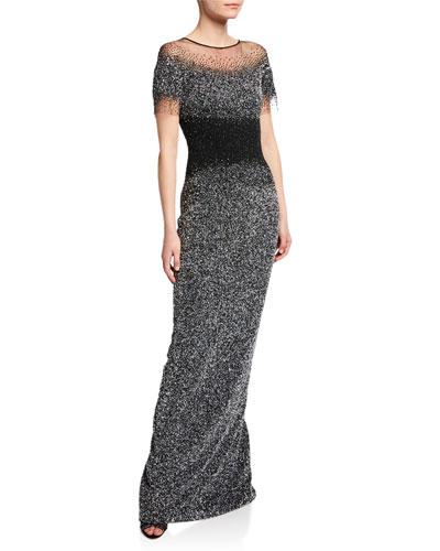Ombre Crunchy-Sequin Gown