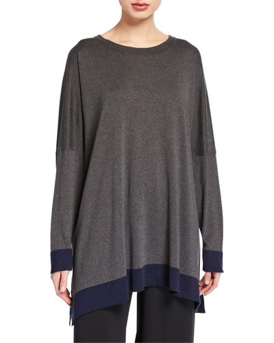 Contrast-Trim Long-Sleeve Silk Sweater