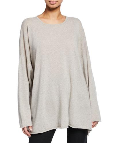 Cashmere A-Line Bateau-Neck Sweater