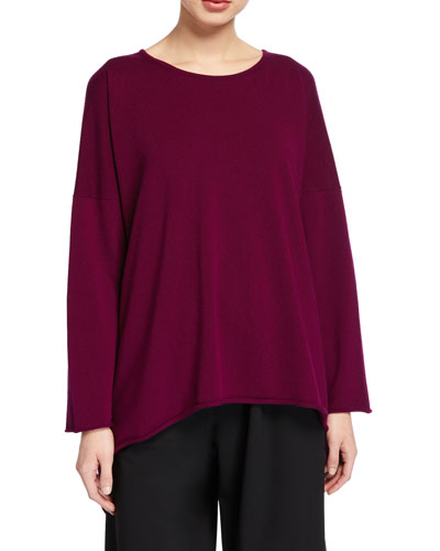 Cashmere Bateau-Neck Cascading-Side Sweater
