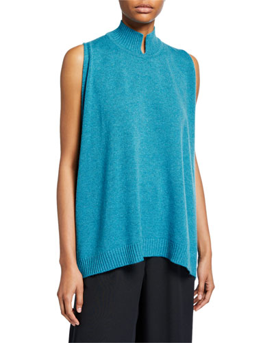 Cashmere Sleeveless Slit High-Neck Sweater