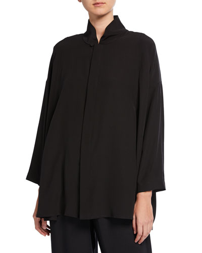 Pleated Shoulder Swing Shirt