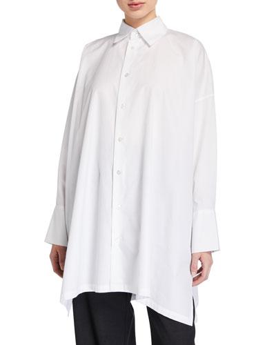 Wide A-Line Poplin Shirt
