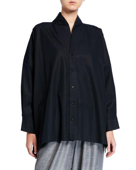 Eskandar Cotton Poplin Wide Long-Back Shirt