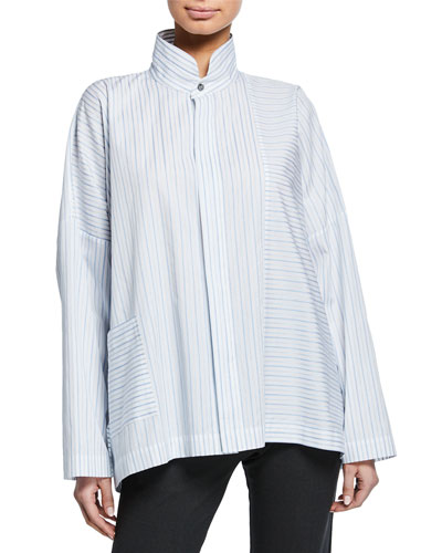Long-Back Stand-Collar Paneled Shirt