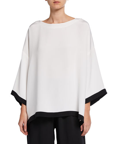 3/4-Sleeve Contrast-Tipped Boat-Neck Tunic