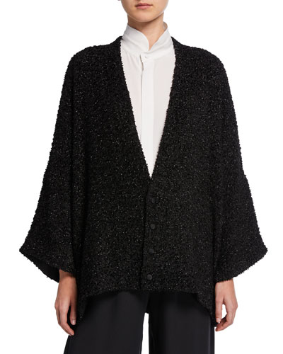 Shimmer Boucle-Wool Button-Front Cardigan