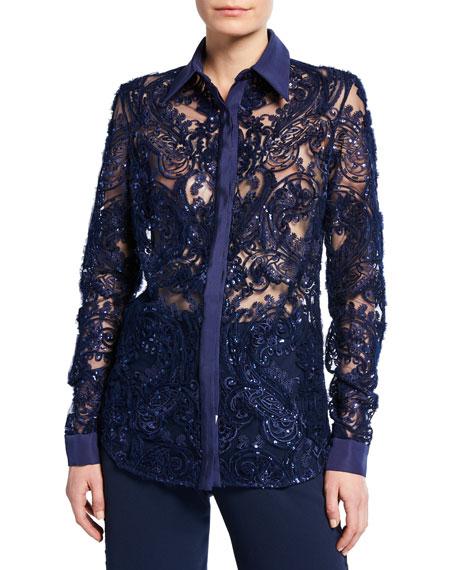 Naeem Khan Lace Button-Front Shirt