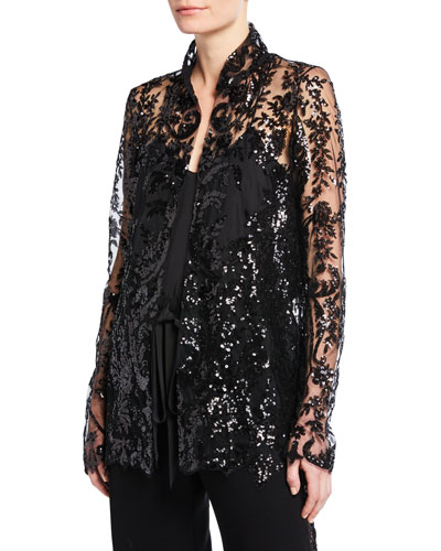 Patterned Organza High-Neck Jacket