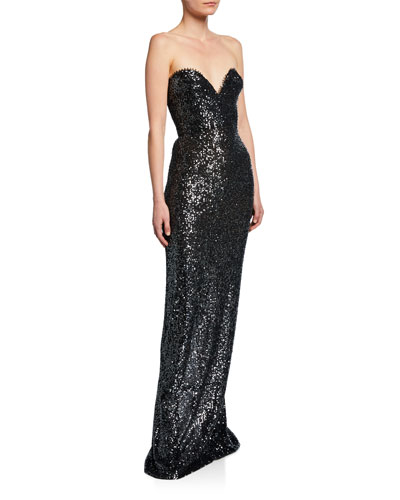 Sequined Strapless Sweetheart Gown