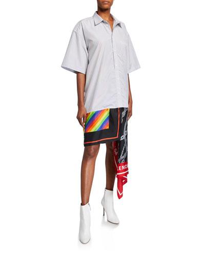 Striped Poplin Short-Sleeve Dress