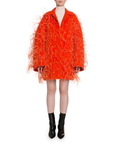 Oversized Feather-Trim Drop-Shoulder Coat