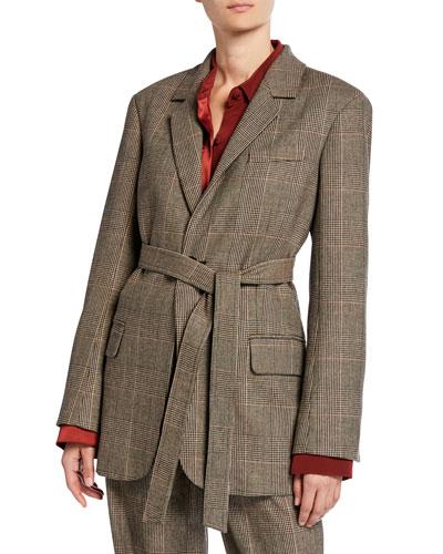 Glen Plaid Belted Menswear Blazer