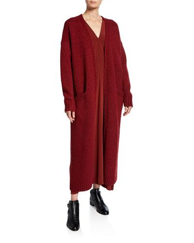 Wool Slub-Knit Open Duster Cardigan