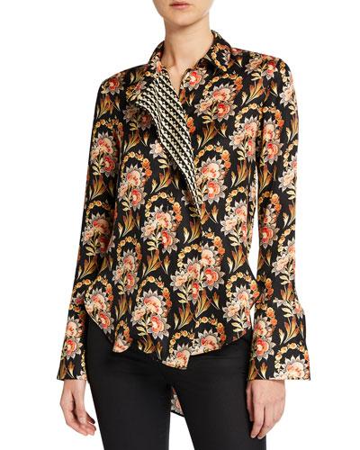 Floral Asymmetric Button-Front Blouse
