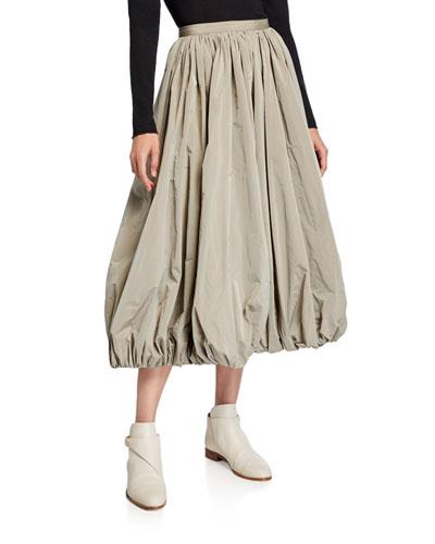 Taffeta Bubble Hem Midi Skirt