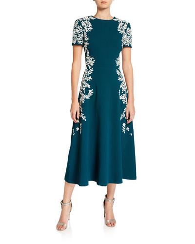 Leaf-Print Short Sleeve Dress