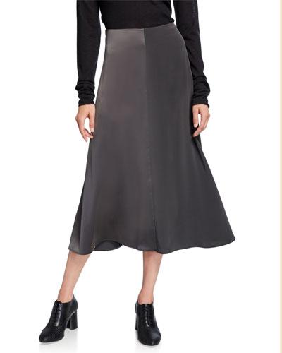 Satin & Chiffon Midi Skirt