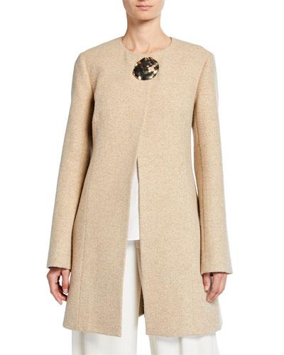 Wool-Silk Golden Brooch Coat