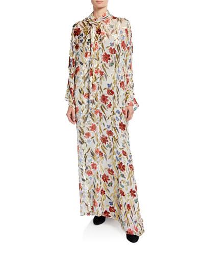 Floral Burnout Velvet Caftan Gown