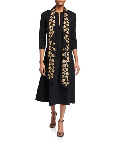 Golden-Leaf 3/4-Sleeve Sash Dress